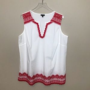 Talbots Red White Eyelet Detail Top